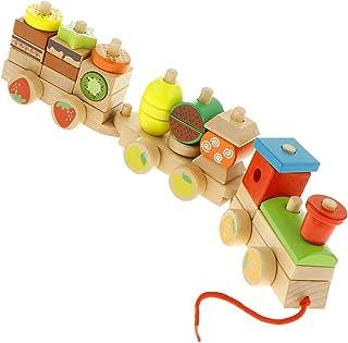 LuDa Wooden Train Building Blocks Educational Pull Toy Preschool Stacking Blocks