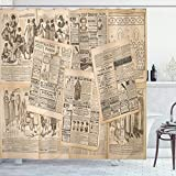 Ambesonne Antique Shower Curtain, Vintage Themed Newspaper Pages of Advertising and Fashion Magazine Woman Edwardian Publicity Image Print, Cloth Fabric Bathroom Decor Set with Hooks, 70' Long, Cream