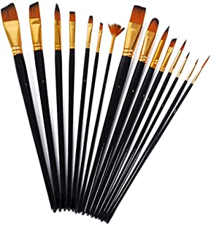 Tykeed 15pcs Paintbrush Set Nylon Hair Painting Brush Kit Watercolour Pen Paint Brushes Art Supplies