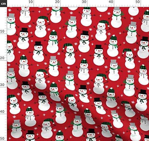 Schneemann, Schnee, Winter, Weihnachten, Weihnachtsstoff Stoffe - Individuell Bedruckt von Spoonflower - Design von Charlottewinter Gedruckt auf Bio Baumwoll Interlock-Jersey