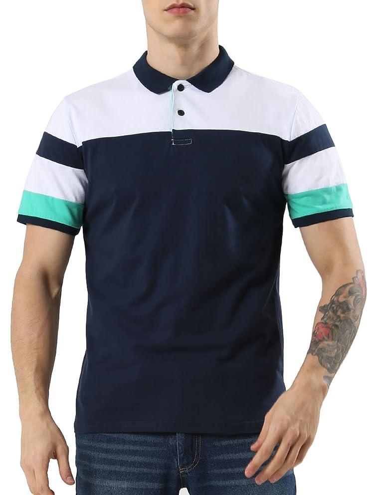 uxcell Men Summer Casual Colorblock Stripe Panel Short Sleeve Button Golf Polo Shirt