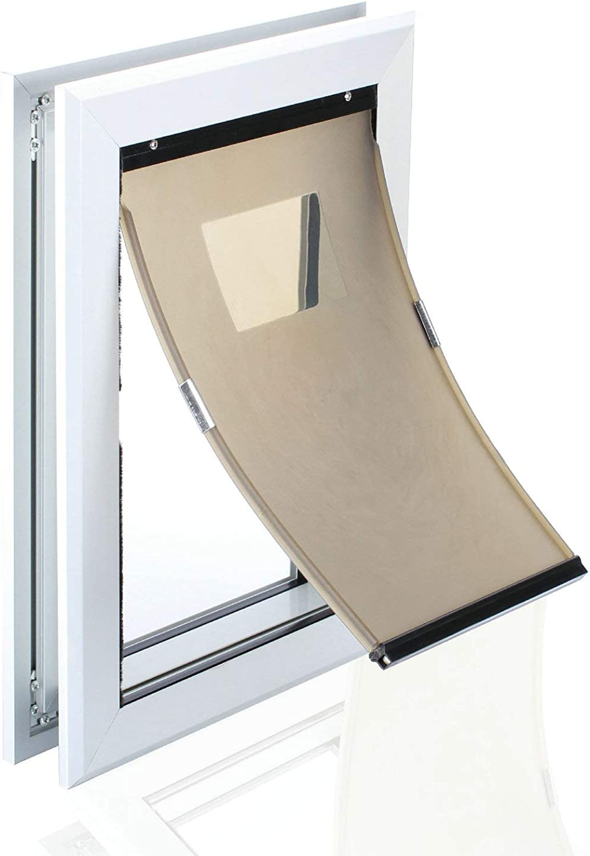 HRTCJ Dog Door, Mavric Large Dog Door, Magnetic Closure, Silent Action, Metal Cat Door, Keep Debris Out, Dog Door in Wall, Aluminum Silver Coating Easy Clean, XL Dog Door
