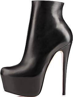 elashe- Stivaletti Donna con Tacco - 15CM Scarpe col Tacco con Plateau - Classiche Stivaletti Donna Inverno