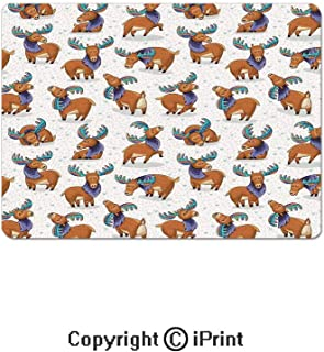 Oversized Mouse Pad,Mooses in Cartoon Elks with Rainbow Antlers Kid Cheerful Comic Pattern Gaming Keyboard Pad,9.8x11.8 inch Non-Slip Office Computer Desk Mat,Ginger Turquoise Lavander