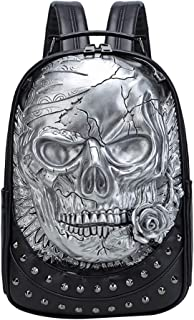 FENICAL Mochila remache 3d cráneo en relieve mochila portátil punk mochilas de viaje grandes para hombres mujeres unisex (...