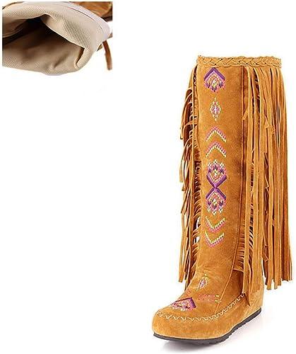 ZHRUI botas de mujer Estilo de Moda Flock Cuero mujer Tacones Planos zapatos Largos Borla Femenina Rodilla botas Altas (Color   amarillo Cloth, tamaño   7=41 EU)