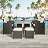 Merax 9 Pcs Outdoor Patio Furniture Set, Rattan Wicker Patio Dining Table Set Garden Coversation Sofa Set