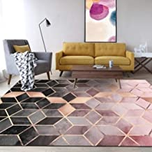 Tsavm Geometric Pattern Carpets Nordic Simple Living Room Bedroom Kitchen Rugs Rose Gold Pink/Green Area Rugs