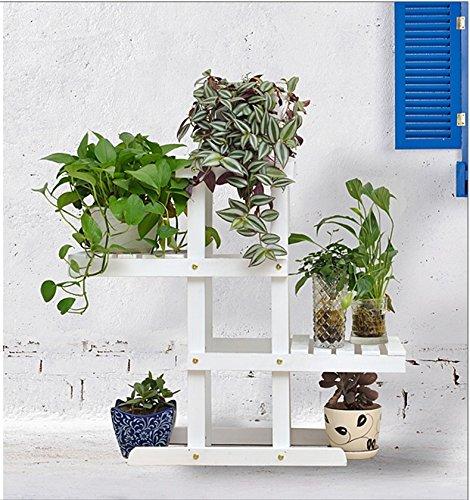 QFF Porte-fleurs en bois massif radier vert sol en plusieurs étages étagère en bois bonsai étagère en bois balcon salon intérieur ( Couleur : Blanc , taille : 72*26*66cm )
