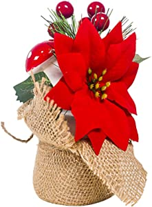 Happyyami Christmas Potted Plant Poinsettias Flowers with Holly Berry Mushroom Christmas Tabletop Ornament