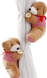 PYD 2PCS Cute Bears Curtain Tieback Buckle Hook Fastener Baby Kids Room Window Screens Decoration (Red)