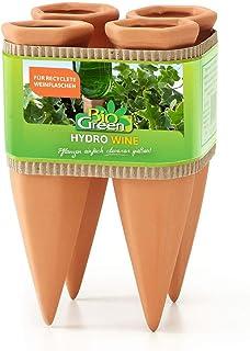 Bio Green HW-4 Gliniane Stożki Do Nawadniania Roślin, Brązowy, Zestaw 4 Sztuk