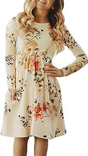 Sponsored Ad - Blibea Girls Floral Print Long Sleeve Boho Empire Waist Midi Dress with Pockets