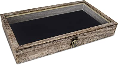 product image for Flag Connections Wooden Jewelry Display case with Tempered Glass Top Lid, Coffee Color