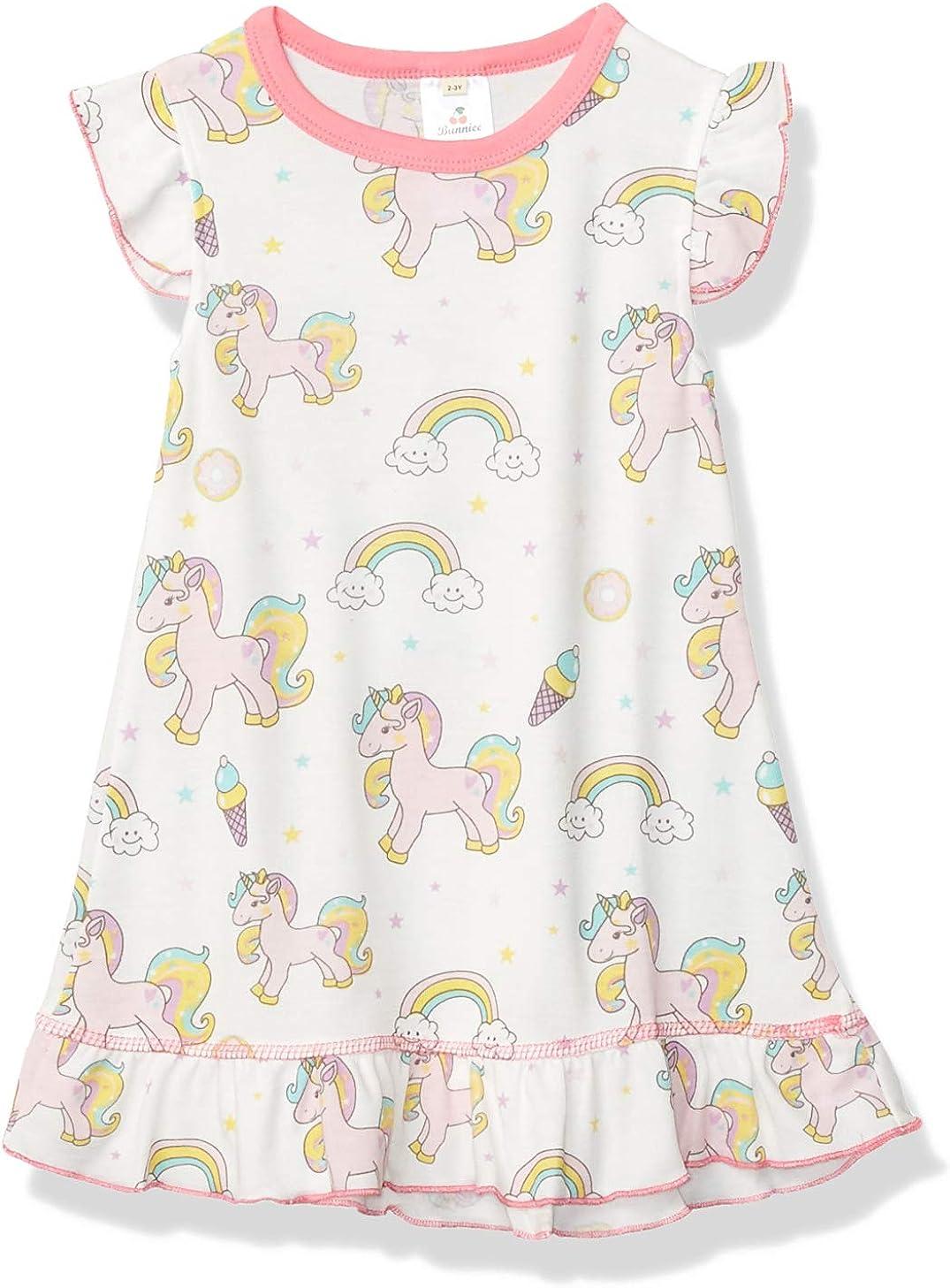 Toddler Girls Baby Princess Dress Cartoon Flutter Sleeve Unicorn Printed Dresses Cute Homewear