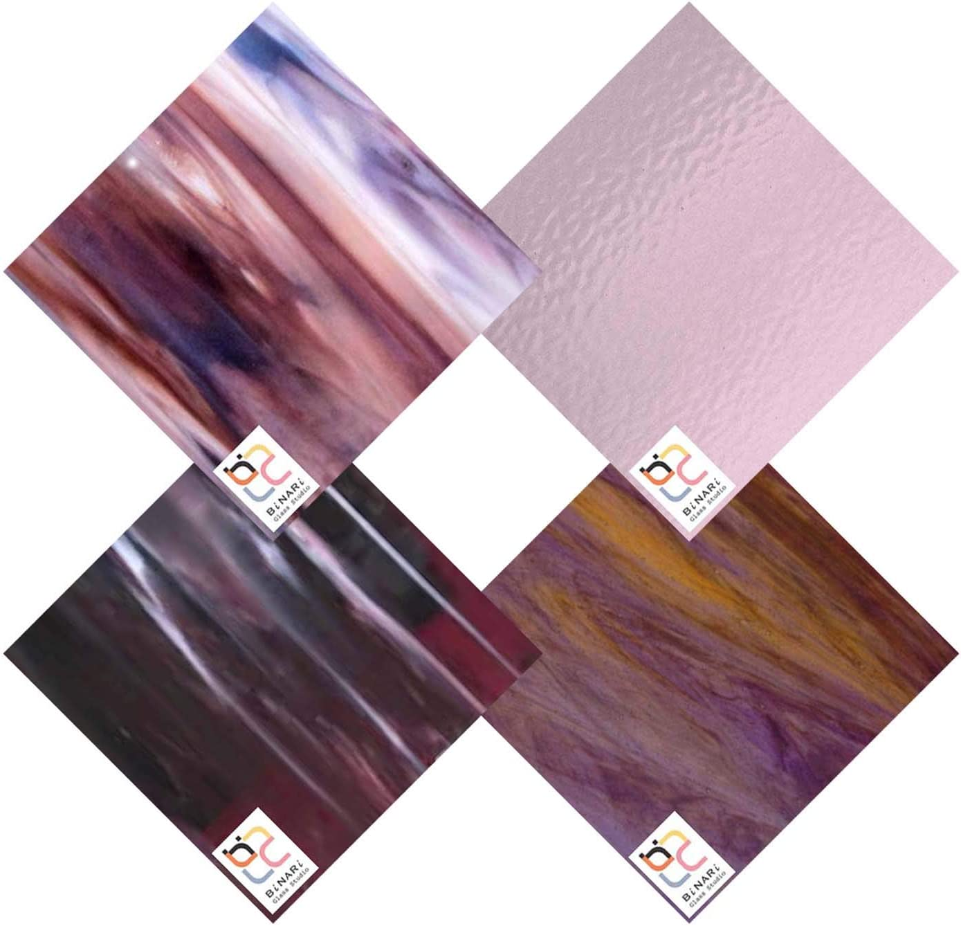 Wissmach 4 Sheet Mixed Free Shipping New Color Stained Pack Glass Variety Purple Manufacturer OFFicial shop