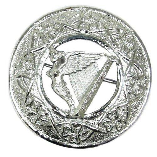 Tartanista - Broche de hombre para mantón o kilt escocés - Motivo arpa irlandesa con trébol