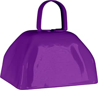 Metal Cowbells with Handles 3 inch Novelty Noise Maker - 12 Pack (Purple)