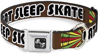 "Buckle-Down Seatbelt Buckle Dog Collar - EAT Sleep Skate Brown/Rasta Burst 1"" Wide - Fits 15-26"" Neck - Large DC-W30529-L"