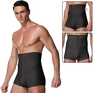PAPIKOOL Mens High Waist Underwear Soft Seamless Long Briefs Control Knickers Slimming Boxer Shorts Shapewear (Color : Bla...