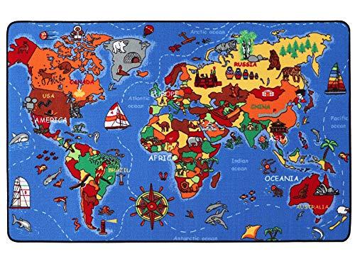 Kinderteppich Lernteppich Spielteppich WELTKARTE - 130x200 cm, Spielmatte, Anti-Schmutz-Schicht, Kinderzimmerteppich mit Karte