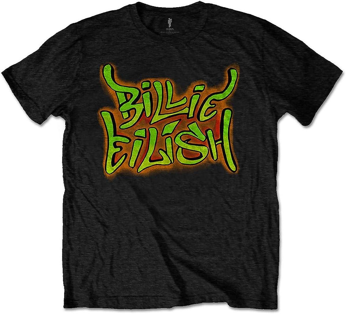 Billie Eilish Men's Graffiti New color T-Shirt Slim Free shipping on posting reviews Fit Black