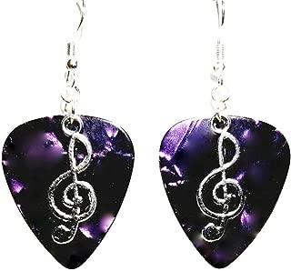 Treble Clef Music Symbol Charm on Guitar Pick Earrings