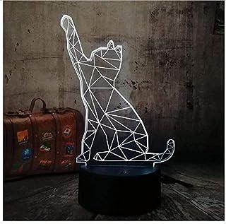 Lámpara de luz de noche LED 3D, lámpara de escritorio de 7 colores con forma de gato, animal, juguetes de regalo para niños, lámpara de controlador táctil para dormir, Pop