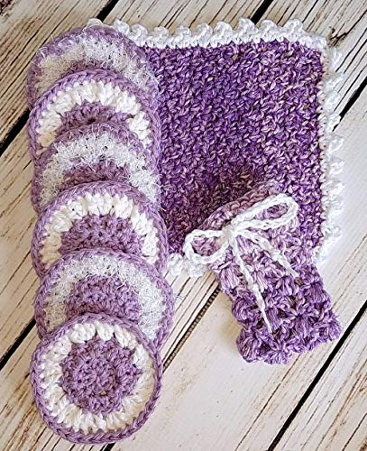 Variegated Purple and White Invigorating yet gentle face and body rounds and washcloth. Hand crocheted spa or bath set with facial scrubbies.