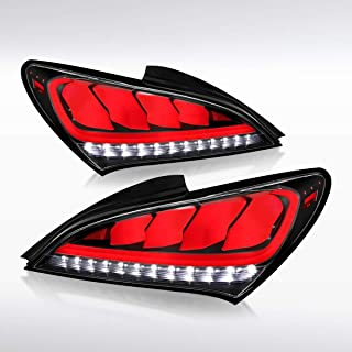 Autozensation For Hyundai Genesis Coupe 2Dr Black Sequential LED Tail Lights Rear Lamps Pair