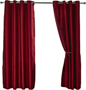 MyShoeStore 1 x Piar Faux Silk Fully Lined Curtains with Eyelet Ring Top And Matching TieBacks
