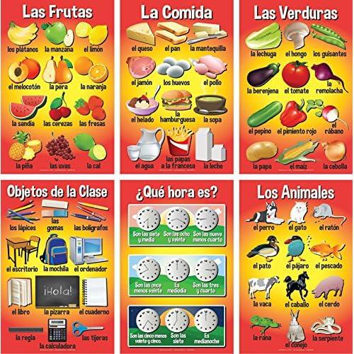 Set of Basic Spanish Posters #3 (Set of 6)