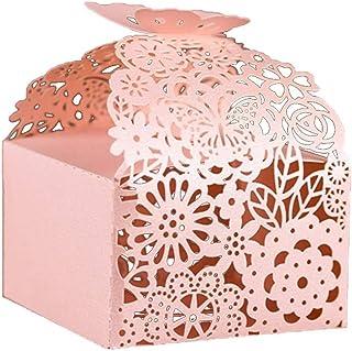 """KAZIPA 50pcs Laser Cut Favor Boxes, 2.6"""" x 2.6"""" x 1.6"""" Floral Favor Boxes, Party Favor Boxes for Bridal Shower Anniverary Wedding Party Favor, Pink"""
