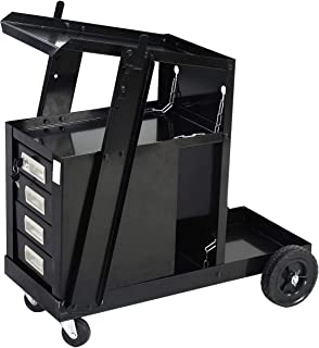 Goplus Welder Cart, MIG TIG ARC Welding Plasma Cutter Tank Storage w/2 Safety Chains, 100 Lb Capacity, Portable 4-Drawer Cabinet