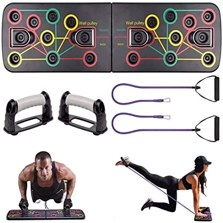 HYR88 Foldable 13 in 1 Push Up Board,Push Up Board,Push Up Rack,Resistance Bands Fitness Push-up Rack Exercise Stands for Gym Training Body Building Fitness Exercise Tool