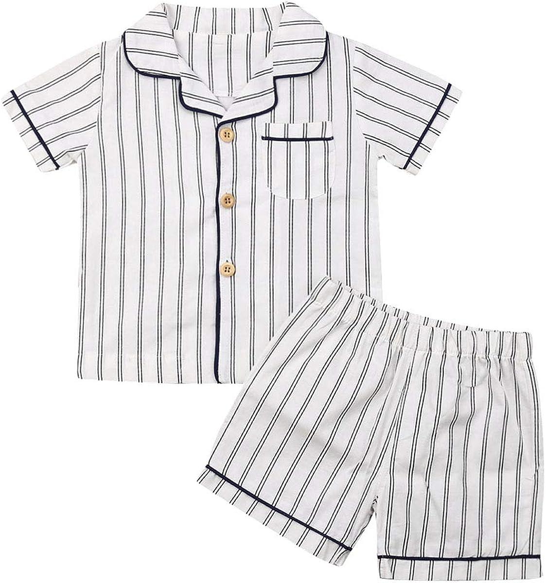 Toddler Infant Baby Boy Girl Pajams Short Sleeve Pjs Set Striped Sleepwear Nightwear Summer Outfits Set
