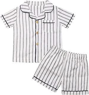 Kid Boy Cotton Pajamas Short Sleeve Striped Shirt Top + Shorts 2PCs Pjs Sets Summer Sleepwear