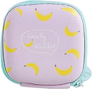 Transer Fashion Cartoon Fruit Print Mini Round Storage Case Bag For Earphone Headphone Change Card Package Storage Bag - Purple