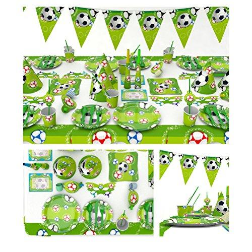BESTOYARD Décorations de fête d'anniversaire de football Coupe du Monde Partie à Thème Vert Fournitures de Fête Décoration Set avec des serviettes Couteaux de Fourchette Plaques pour les enfants Anniversaire Faveur de douche de bébé