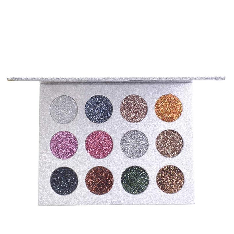 暫定の狂人解き明かすキラキラ12色光沢のあるアイシャドウシマーパウダーパレット色化粧品