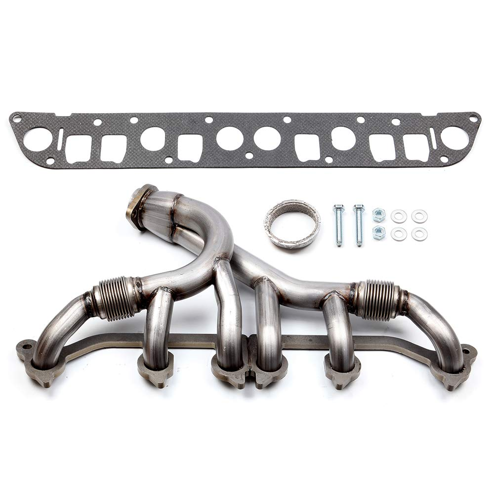 cciyu SS Exhaust Manifold Kit Fits 1991-1999 for Jeep for Cherokee 1991-1992 for Jeep Comanche 1993-1998 for Jeep Grand for Cherokee 1997-1999 for Jeep TJ 1991-1995 1997-1999 for Jeep Wrangler