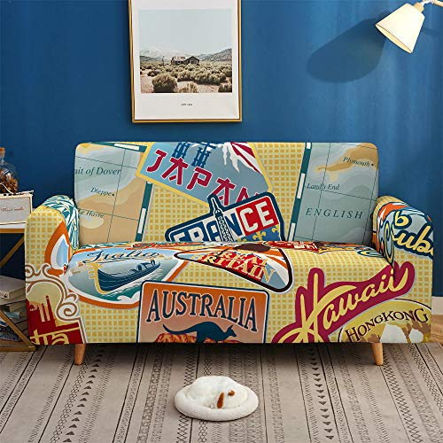 HXTSWGS Funda de sofá de Terciopelo,Funda de sofá con impresión 3D, Funda de sofá elástica Antideslizante, Funda de sofá de 1/2/3/4 plazas, Fundas de sofá-BDB72_2 plazas 145-185cm