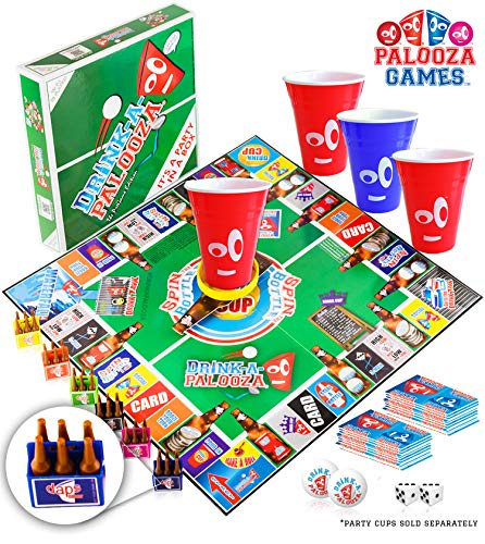 Image of the DRINK-A-PALOOZA Board Games: Party Drinking Games for Adults - Game Night Party Games | Fun Adult Beer Games Gift with Beer Pong + Flip Cup + Kings Cup Card Games + More!