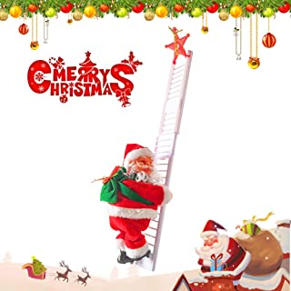 Santa Climbing Ladder Electric Santa Claus Climbing Rope Ladder Decoration Christmas Super Climbing Santa Plush Doll Toy Hanging Ornament Tree Indoor Outdoor Christmas Holiday Home Decor 1