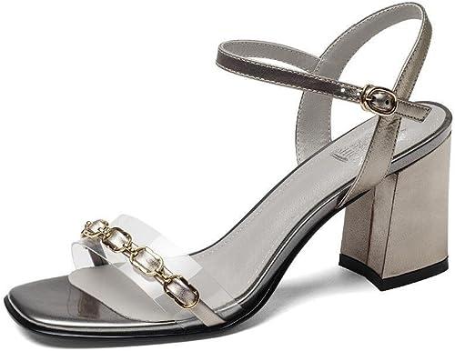 ZHRUI Escarpin Talons Hauts H5998 Femmes PU Chaussures Simples Sandales Décontracté Commerce Cérémonie de Mariage avec Hauteur 7.5cm Cyan, Champagne