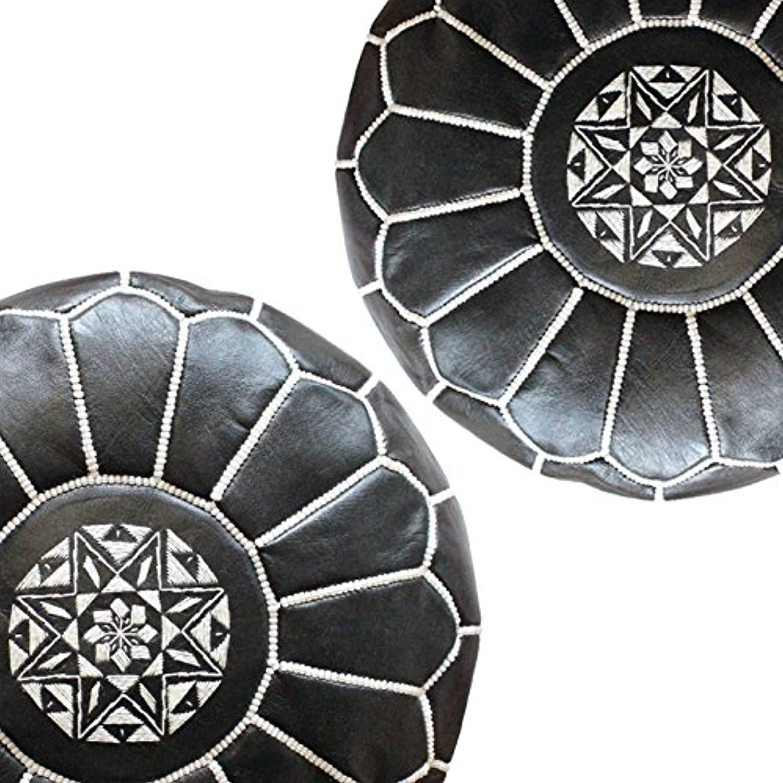 Set of 2 Mgoldccan Poufs - Black