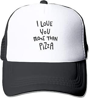 Tom Sapira I Love You More Than Pizza Unisex Trucker Hat Fashion Mesh Cap Adjustable Hip-hop Baseball Cap One Size Black