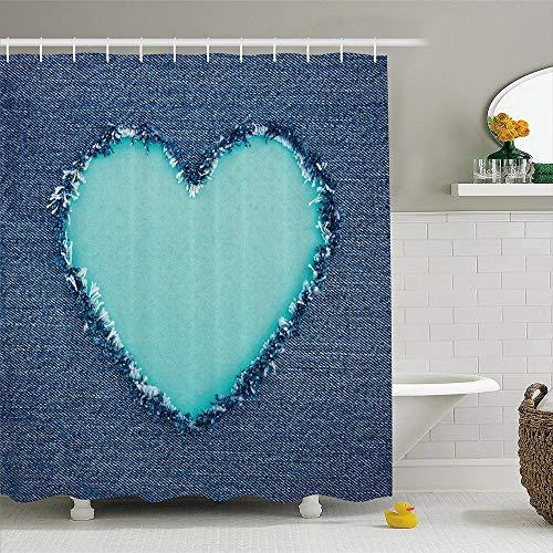 Marineblauw douchegordijn gescheurd denim Jean stof afbeelding hart vorm liefde romantiek Valentijnsdag stof badkamer Decor