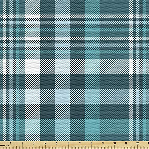 Ambesonne Plaid Fabric by The Yard, Monochromatic Classic Crossing Line Squares, Decorative Fabric for Upholstery and Home Accents, 2 Yards, Blue Teal