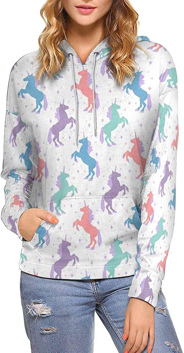 InterestPrint Phoenix Mall Magic Unicorn Atlanta Mall Women All-Ov Casual Hoodies Pullover
